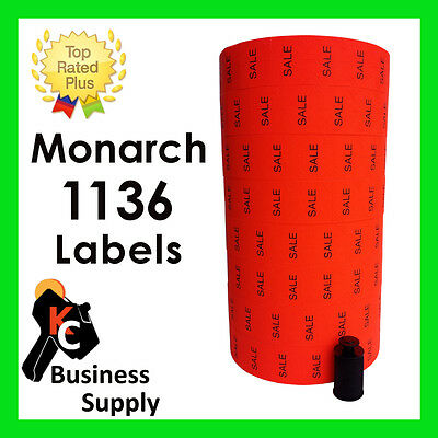 Labels for Monarch 1136 red SALE two line price gun labels - ink roller included