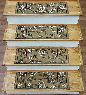 """Rug Depot Set of 13 Floral Carpet Stair Treads 26"""" x 9"""" Beige Background Poly"""
