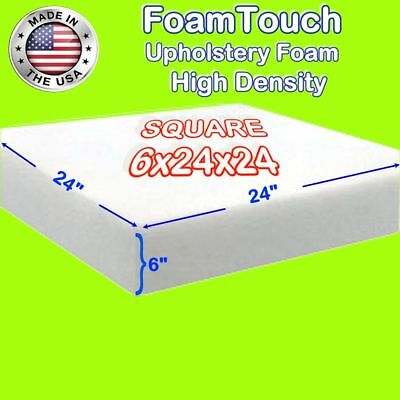 "High Density FoamTouch Upholstery Foam Cushion  6"" X 24"" X 24"" - free shipping"