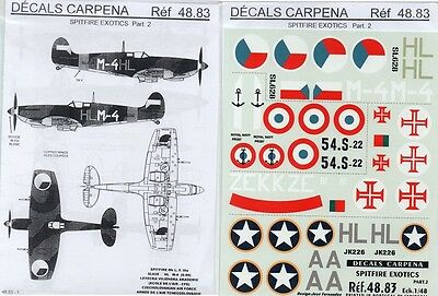 DECALS CARPENA 48.83 - DECALS 1/48 SPITFIRE EXOTICS Pt. 2