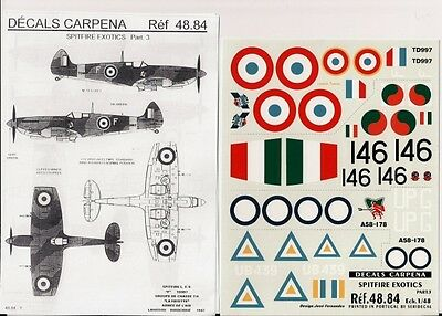 DECALS CARPENA 48.84 - DECALS 1/48 SPITFIRE EXOTICS Pt. 3