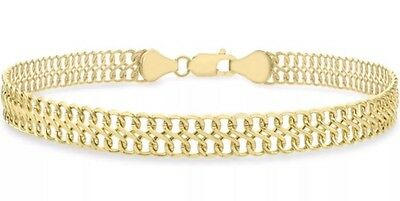 9ct Solid YELLOW GOLD Figure 8  Curb Bracelet 19cm/7.5 inch  UK + FREE Gift