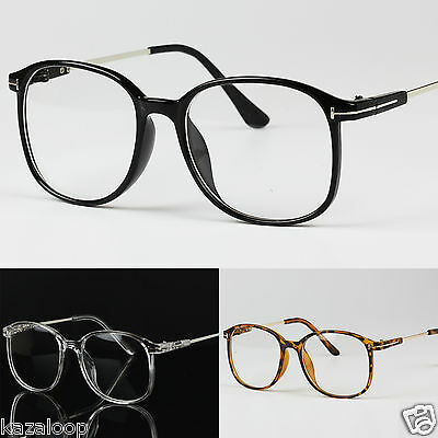 Large Frame Oversized Clear Lens Vintage Retro Glasses