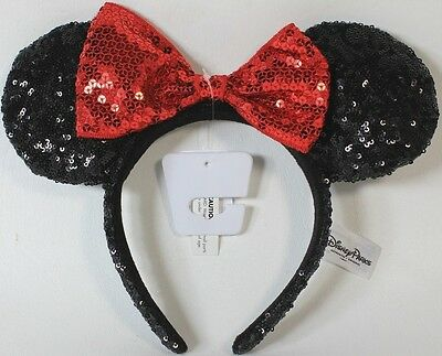 NEW Disney Parks Minnie Mouse Red Black Sequin Headband - Ears Costume Bow Hat