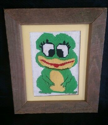 Vintage Wooden Framed 1970's Unique Sewn Frog Green Amphibian Wall Art Very Rare
