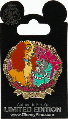 Disney Parks Lady & Scamp Mother's Day 2015 Pin Lady and The Tramp LE 4000