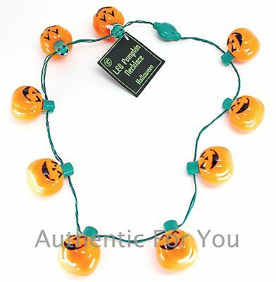 Disney Parks Halloween Pumpkin Glow Necklace with Flashing Jack-O-Lantern Lights