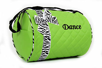 Dance Bag Girls  - Quilted Zebra Duffle NEW in Green