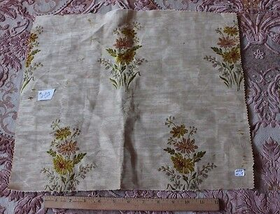 """French Antique Silk Woven Floral&Scroll Home Dec Fabric Jacquard c1880~14""""LX17""""W"""