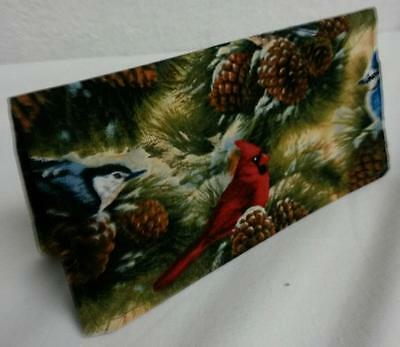 Birds in Pine Trees Fabric Checkbook Cover Document Coupon Holder Handmade