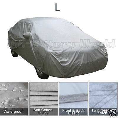 2 Layer Heavy Duty Waterproof Car Cover Cotton Lining Scratch Proof Large Size L