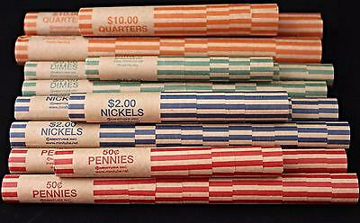 100 Preformed Coin Wrappers Assorted Penny Nickel Dime Quarter Heavy Duty Tubes