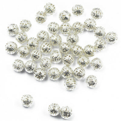 UK 50 SILVER PLATE SPARKLE DUST SPACER BEAD~6mm~Wine Glass Charm~Christmas 66J
