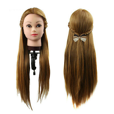 New Long 30% Real Human Hair Hairdressing Equipment Styling Head Doll + Clamp