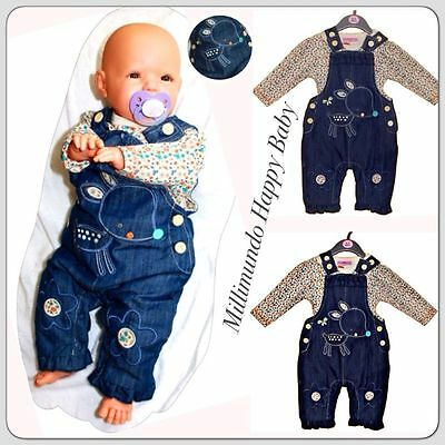 Traum Set ENGLAND Latzhose Bluse Latzjeans Jeans Thermohose 50 56 62 68 74 86