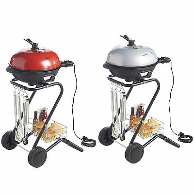 VonShef Electric BBQ Barbecue, Indoor Outdoor Grill Griddle, Red or Silver 1600W