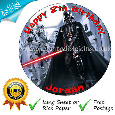 Star Wars Birthday Cake Edible Round Personalised Cake Topper Decoration