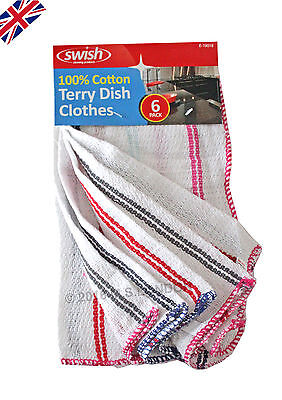 6 Pack 100% Cotton Absorbent Kitchen Cleaning Dish Cloths Home/officeTerry Swish