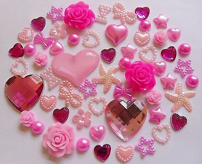 Mixed Pinks Pale Deep Resin Roses Bows Pearl Rhinestone Hearts Flat-Back Craft