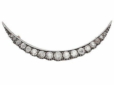2.52 ct Diamond and 9 ct Yellow Gold Crescent Brooch - Antique Circa 1900