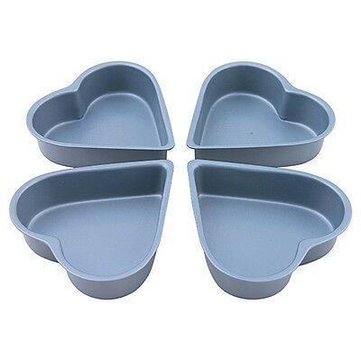 Dexam Bakers Pride Non-Stick Heart Shaped Cake Pan, Set of 4 Mini sized