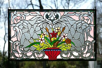 """Handcrafted Jeweled Beveled stained glass window panel Flower 34.75""""L x 20.75"""""""