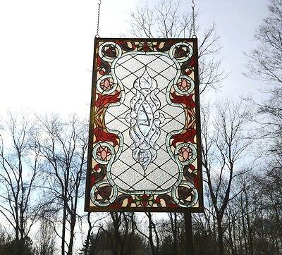 """sold out! Handcrafted Beveled stained glass window panel. 21""""W x 35.5""""H"""