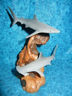 RARE HAMMERHEAD and BLUE SHARK SCULPTURE - Signed PERRY STATUE Hard to Find !