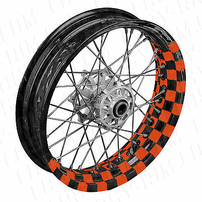 Supermoto Flagge orange - Motorrad Felgenaufkleber wheel sticker (KTM,SMC,690)