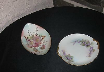 Antique  Schuman Germany pierced bowl and dish Gorgeous hand painted