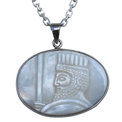 Cyrus The Great Sterling Silver Mother Pearl Necklace Iranian Persian King Art
