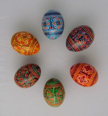 10 Wooden Pysanky, Ukrainian Wooden Easter Eggs, Pisanka, Large Chicken Size