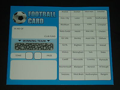 40 Team Football Fundraising Scratch Cards - Value Pack Of 10 Quality Cards