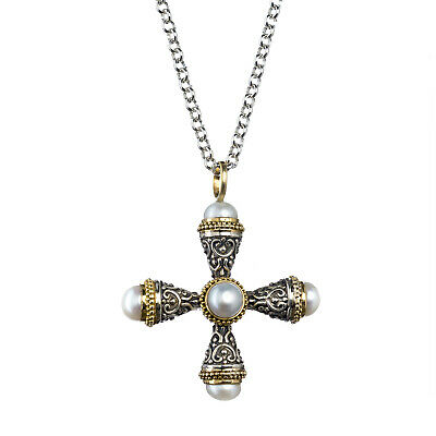 Gerochristo: Byzantine Handmade Cross Pendant Silver and 18k Solid Gold Pearls