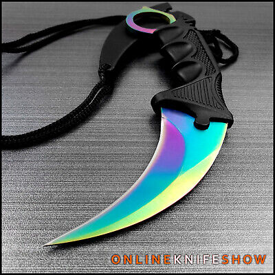 TACTICAL RAINBOW COMBAT KARAMBIT NECK KNIFE Survival Hunting BOWIE Fixed Blade