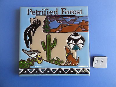 "Ceramic Art Tile 6""x6""TRIVET WALL HANGING PETRIFIED FOREST National Park A18"