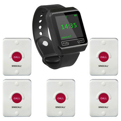 SINGCALL Wireless Service Calling Waiter System 1 Watch Receiver with 5 Pagers