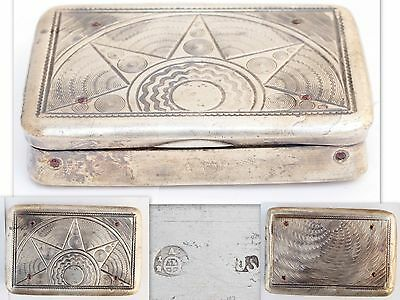 Antique Austria Vienna Solid Silver Tabacco Snuff Pill Jewel Box with Ruby 1828