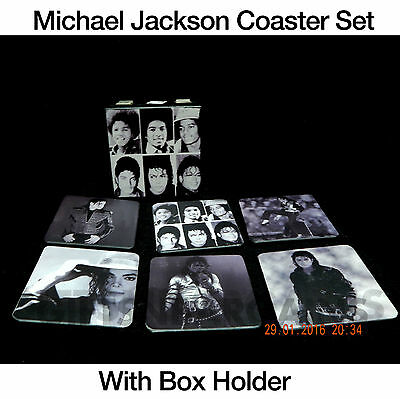 Fathers Day Gift Michael Jackson Drink Coasters+Wooden Box Holder. Set 6Pc Mens