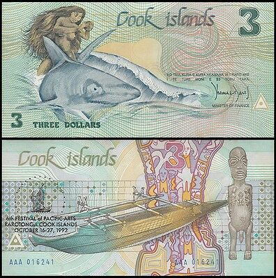 Cook Islands $3 Dollars Banknote, 1992, P-6, UNC, 6th Festival of Pacific Arts