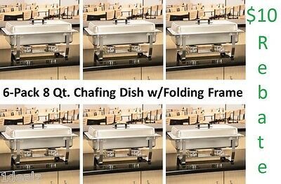 SUPERBOWL 6 Pack Full Size 8 Qt Stainless Chafing Dishes Folding Frames Chafer $