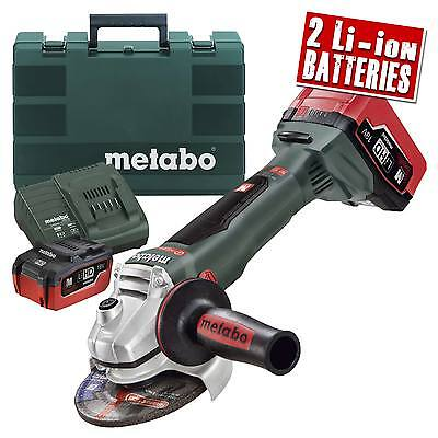 Metabo WB 18 LTX BL 125 Quick Angle Grinder, Charger (2 xLi-ion 5.2Ah Batteries)