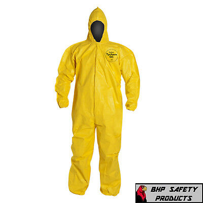 Dupont Tychem Tyvek Qc127S Yellow Coverall Chemical Hazmat Suit 1 Each (Sz M-4X)