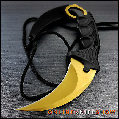 TACTICAL GOLD COMBAT KARAMBIT NECK KNIFE Survival Hunting BOWIE Fixed Blade CLAW