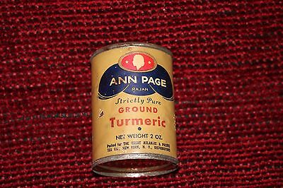 1937 RAJAH ANN PAGE STRICTLY PURE GROUND TURMERIC  TIN 2 OZ  A&P Co. NEW