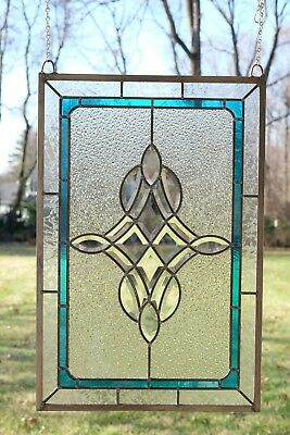 "Handcrafted stained glass Clear Beveled window panel 16.5"" x 24.75"""
