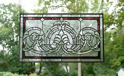 """Handcrafted stained glass Clear Beveled window panel 34""""W  x 20.5""""H"""