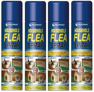 4x 200ml Household Flea Killer Spray Aerosol Animal Flea Dog Cat Tick Protection