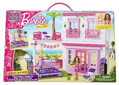 Mega Bloks Barbie Doll Build 'n' And Style Beach House 80226 Girls Toy Playset