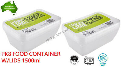 8 x Food Storage Container Plastic Lunch Takeaway Microwave Box BPA Free 1500ML